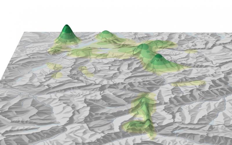 Die literarische Landschaft Vierwaldstättersee/Gotthard in 3D (Analyse: Barbara Piatti, Visualisierung: Hans Rudolf Bär; ETH Zürich)